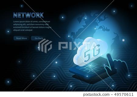 5G wifi wireless technology template background 49570611