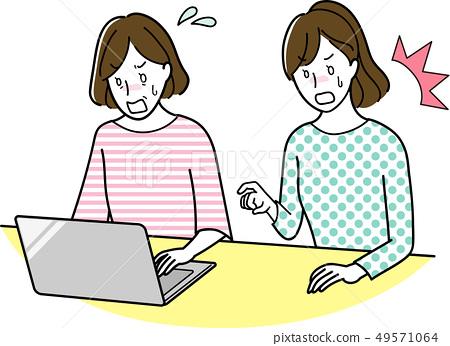 컴퓨터를하는 중년 여성 49571064