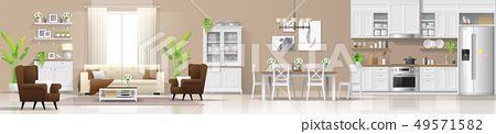 Living room , dining room and kitchen background 49571582