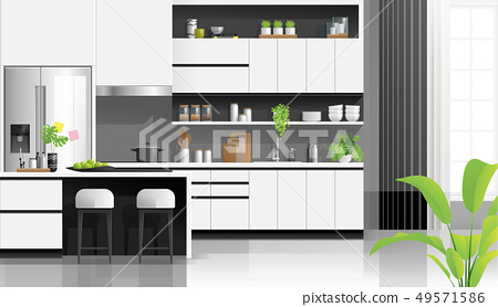 Modern black and white kitchen background 49571586