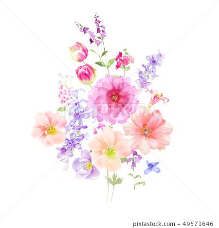 用柔和的顏色畫出的花的水彩畫 49571646