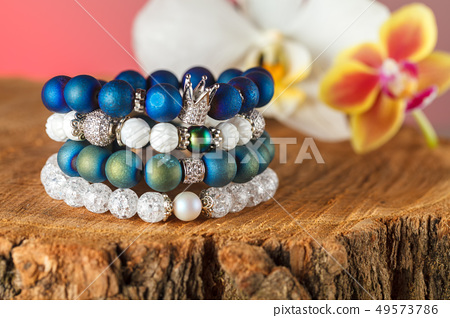 Beautiful jewelry made of natural stones and 49573786