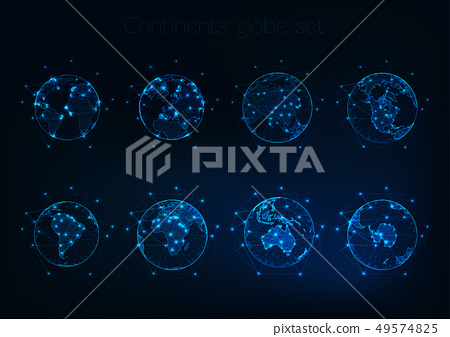 Set of glowing low polygonal globes shows planet Earth with different continents outlines. 49574825