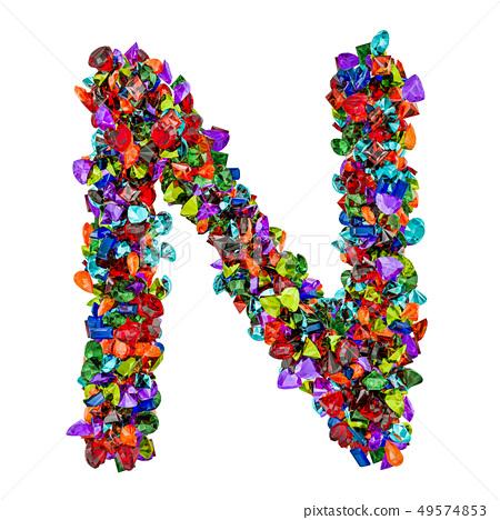 Letter N from colored gemstones. 3D rendering 49574853