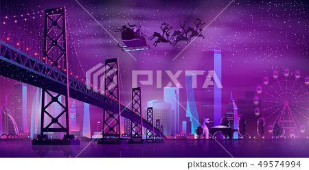 Christmas night in metropolis cartoon vector 49574994