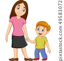 Cartoon mother holding her son's hand 49583072