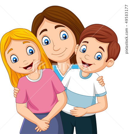Illustration of a mother with son and daughter 49583177