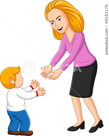 Illustration of young mother playing with her son 49583178