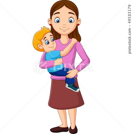 Cartoon mother carrying a boy in her arms 49583179