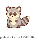 cute raccoon cartoon comic character with smiling face happy emoji anime kawaii style funny animals 49583804