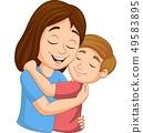Cartoon happy mother hugging her son 49583895