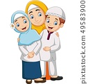 Muslim mother with son and daughter 49583900