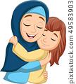 Muslim mother hugging her daughter 49583903
