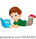 Cartoon boy laying down and reading a book 49583905