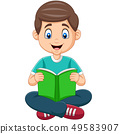 Cartoon boy reading a book 49583907