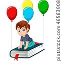 Cartoon schoolboy flying on a book 49583908