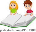 Cartoon boy and girl holding  giant book 49583909