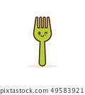 cute green steel fork cartoon comic character with smiling face happy emoji kawaii style food 49583921