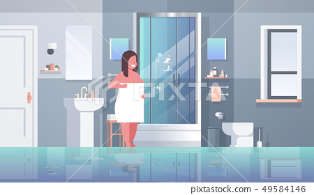 fat obese woman wrapped with white towel overweight girl standing in bathroom after shower obesity 49584146
