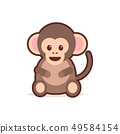 cute little monkey cartoon comic character with smiling face happy emoji anime kawaii style funny 49584154