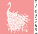 Beautiful peacock, cartoon outline, drawing 49585720