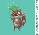 Cute Tanuki cartoon , Japanese raccoon dog, vector 49585870