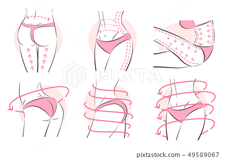 Surgical lines on woman's body 49589067