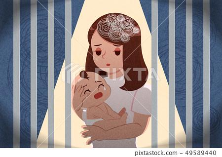 postpartum depression concept 49589440