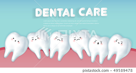 cute cartoon crowding tooth concept 49589478