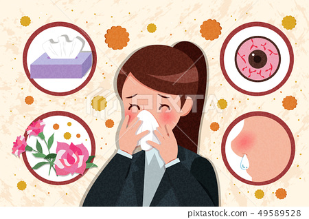 cartoon woman with hay fever 49589528