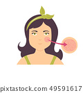 Illustration of a girl with broken cappilaries. 49591617