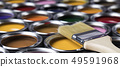 Tin metal cans with color paint and paintbrush 49591968