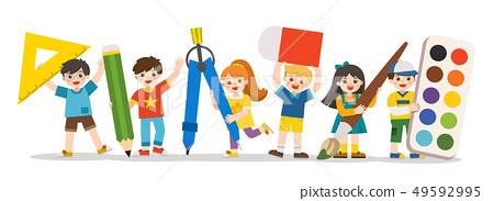 Happy school kids with elements of school. 49592995