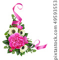 Pink peonies and anemone flowers with satin ribbon 49593553