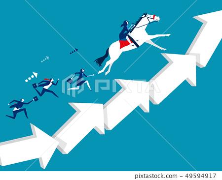 Business team moving up arrow step. Concept 49594917