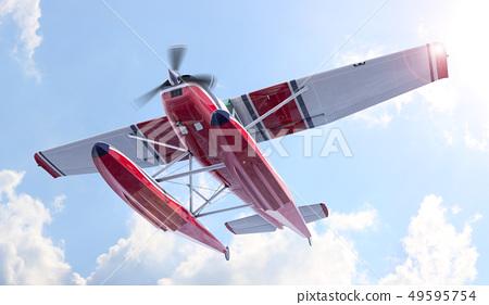 Retro seaplane illustration. 3D render 49595754