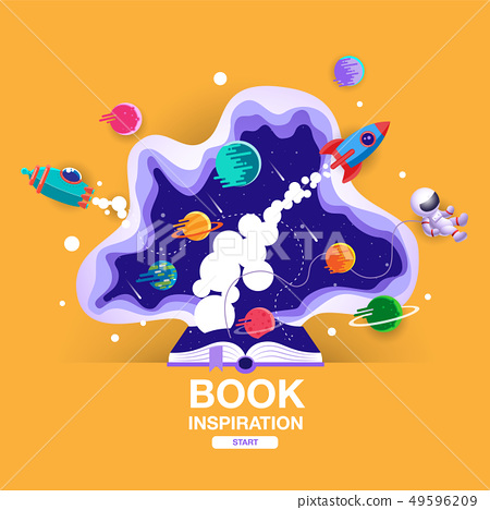 open book, space background, school, reading and 49596209