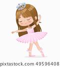 Cute Small Brown Hair Girl Ballerina Dance Isolated. Caucasian Ballet Dancer Baby Princess Character 49596408
