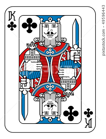Playing Card King of Clubs Red Blue and Black 49596443