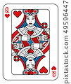 Playing Card Queen of Hearts Red Blue and Black 49596447