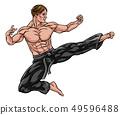Kung Fu or Karate Flying Kick 49596488
