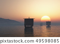 Viking Longships Approaching at Sunset 49598085