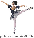 Ballerina in Dark Blue Snowflake Tutu, Arabesque P 49598094
