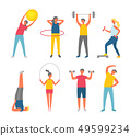 People Pumping Muscles, Sport or Fitness Vector 49599234