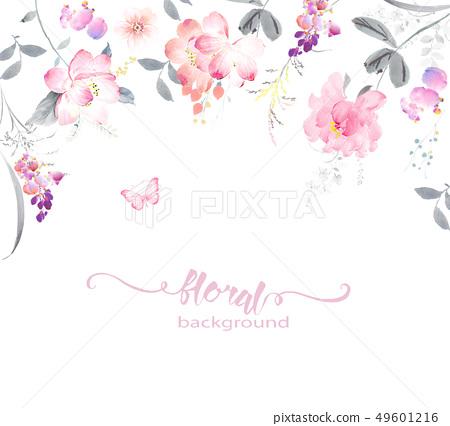 色彩柔和的水彩花卉和賀卡設計 49601216