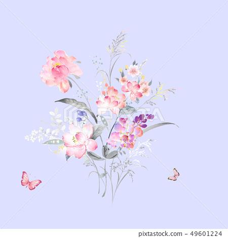 色彩柔和的水彩花卉和賀卡設計 49601224