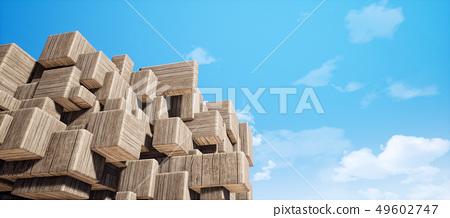 鲜艳细致的抽象的室内木纹几何墙纹理背景(高分辨率 3D CG 渲染∕着色插图) 49602747
