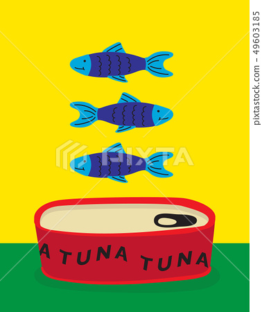 vector illustration of a canned tuna, colourful 49603185