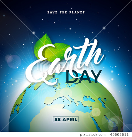 Earth Day illustration with Planet and Green Leaf. World map background on april 22 environment 49603611