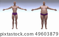 Man before and after sports. Cartoon  illustration. Diet and sport. Fat and strong character. 49603879